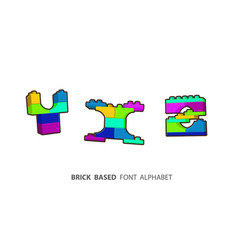 Alphabet set created from playing bricks lower vector