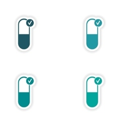 Assembly realistic sticker design on paper pills vector