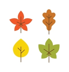 Autumn leaves icon flat style vector image vector image