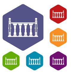 Balustrade icons set hexagon vector