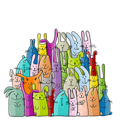 Big rabbits family for your design vector