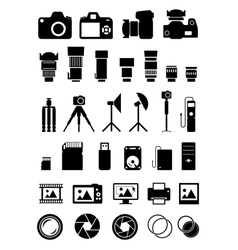 Camera Accessories Icons vector image vector image