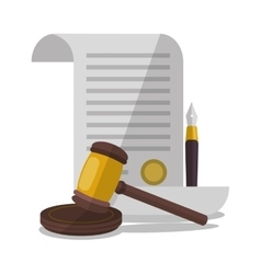 Document and hammer of law and justice design vector