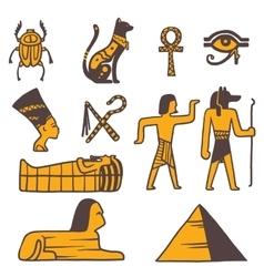 Egypt travel icons symbols vector