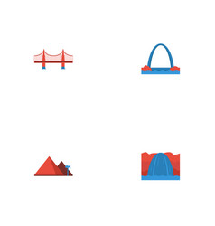 Flat icons bridge great pyramid architecture and vector