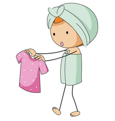 girl in bathtowel holding pink shirt vector image vector image