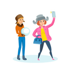 girl with phone in his hand making selfie vector image