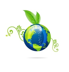 green eco sign of blue earth vector image vector image