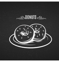 Hand drawn donuts in style chalkboard vector