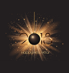 Happy new year bauble on starburst background vector