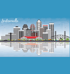 jacksonville skyline with gray buildings blue sky vector image vector image