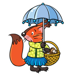 Little funny squirrel with umbrella vector