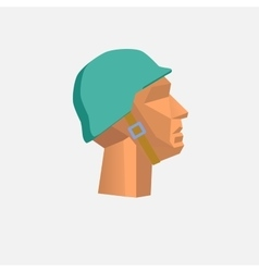 Low poly character military head vector