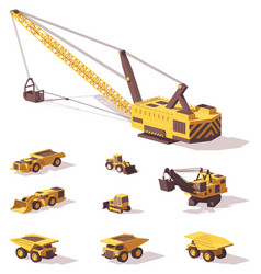 low poly mining machines vector image vector image