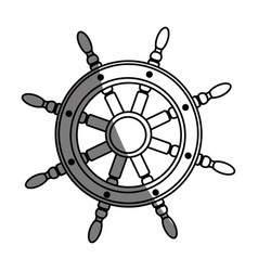 monochrome silhouette of boat helm with half vector image