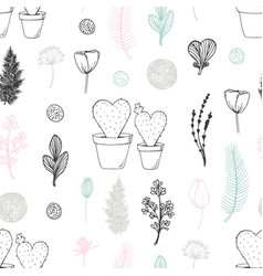 Pastel seamless pattern with hand drawn cactuses vector