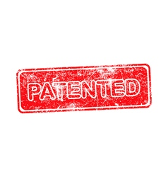 Patented red grunge rubber stamp vector