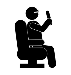 Person sitting down pictogram icon vector