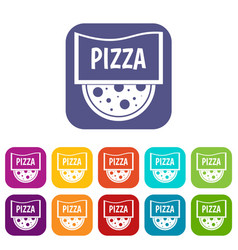 Pizza badge or signboard icons set flat vector