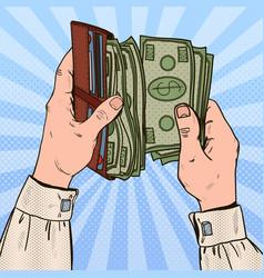 pop art businessman hands holding wallet vector image vector image