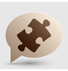 Puzzle piece sign brown gradient icon on bubble vector