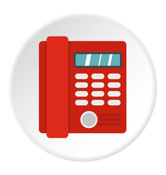 Red classic business office phone icon circle vector