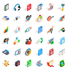 Safe data icons set isometric style vector