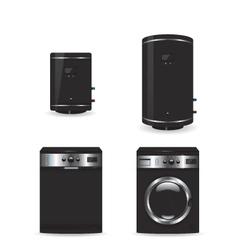 Set of black household appliances vector