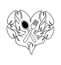 Silhouette leaves in form of heart with spoon vector