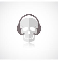 Skull with headphones icon vector