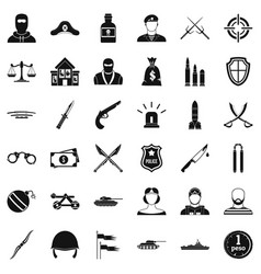 Soldier weapon icons set simple style vector
