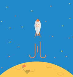 Spaceship launch from planet after mission complet vector image