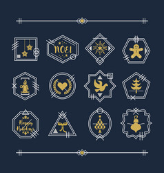 trendy golden and white line christmas emblems vector image vector image