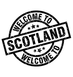 Welcome to scotland black stamp vector