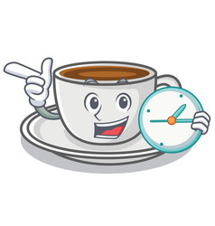With clock coffee character cartoon style vector