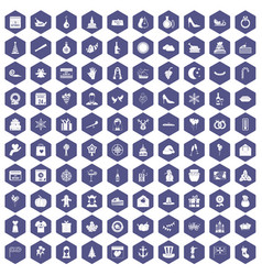 100 festive day icons hexagon purple vector