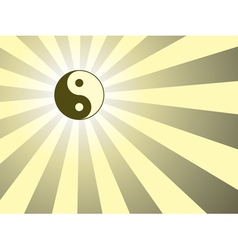 background with yin yang symbol vector image