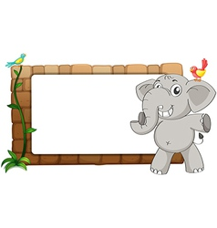 A white board an elephant and birds vector