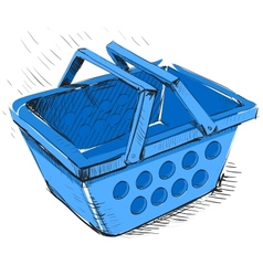 Supermarket food basket vector