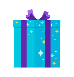 Present giftbox for festivals in blue colors with vector
