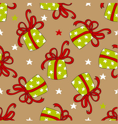 seamless pattern of colorful gift boxes vector image