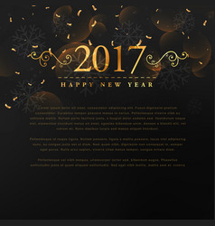 Golden 2017 new year text with floral and vector