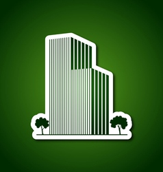 Paper buildings and trees over green vector image