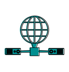 earth globe diagram global communications icon vector image