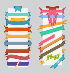 Set of color retro ribbons and labels vector