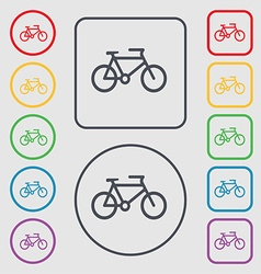 Bike icon sign symbol on the round and square vector