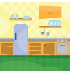 Kitchen interior and cooking utensils vector