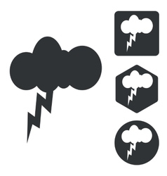 Thunderbolt icon set monochrome vector