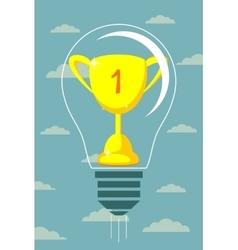 Winner cup on light bulb background vector