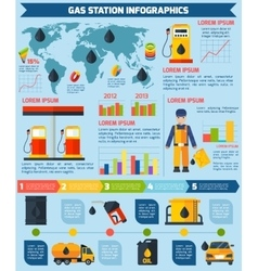 Gas station worldwide infographic layout poster vector